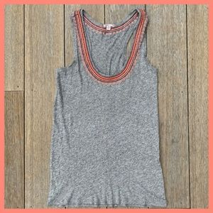 J.Crew Embroidered Tank Top Grey/Coral XS